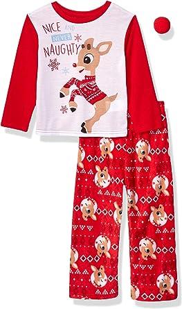 Girl Baby Toddler Christmas Rudolph Reindeer Novelty Print Long Sleeve Pyjamas