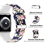 Lwsengme Compatible with Apple Watch Band 38mm 40mm 42mm 44mm, Soft Silicone Replacment Sport Bands Compatible with iWatch Series 5,Series 4,Series 3,Series 2,Series 1
