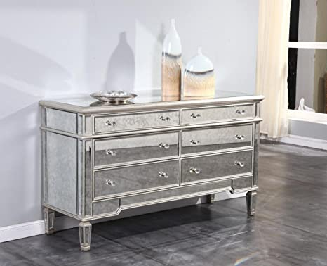 Charmant Elegant Florentine 6 Drawer Mirrored Dresser In Silver Leaf Finish With  Antique Mirrored