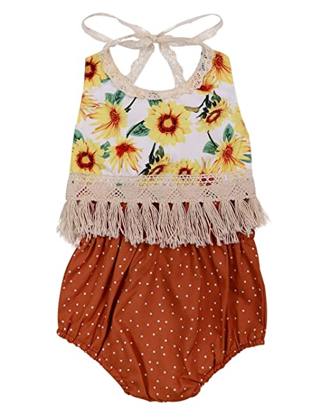 c735db03321b Baby Girl Clothes Floral Backless Romper Tassel Top + Dot Short Summer  Outfits Set 0-