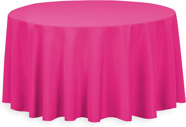 120-Inch Polyester Poplin Round Tablecloth Fuchsia