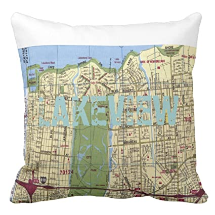 Amazoncom Zazzle Lakeview New Orleans Map Lumbar Pillow 20 x 20