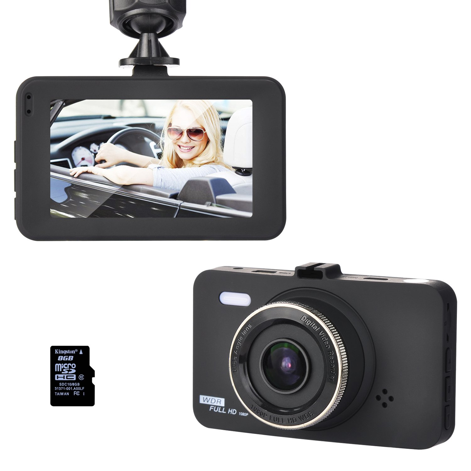 """Dash Cam 3"""" LCD FHD 1080P 170 Degree Wide Angle Dashboard Camera Car Recorder DVR with 16GB SD Card,Night Vision, G-Sensor, WDR,Loop Recording"""
