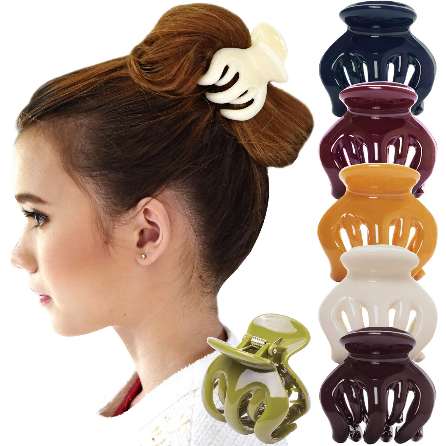 RC ROCHE ORNAMENT 6 Pcs Womens Hair Pumpkin Interlocking Teeth Slip Secure Grip Strong Solid Ladies Beauty Accessory Classic Clamp Jaw Claw Clip, Medium Classic Multicolor