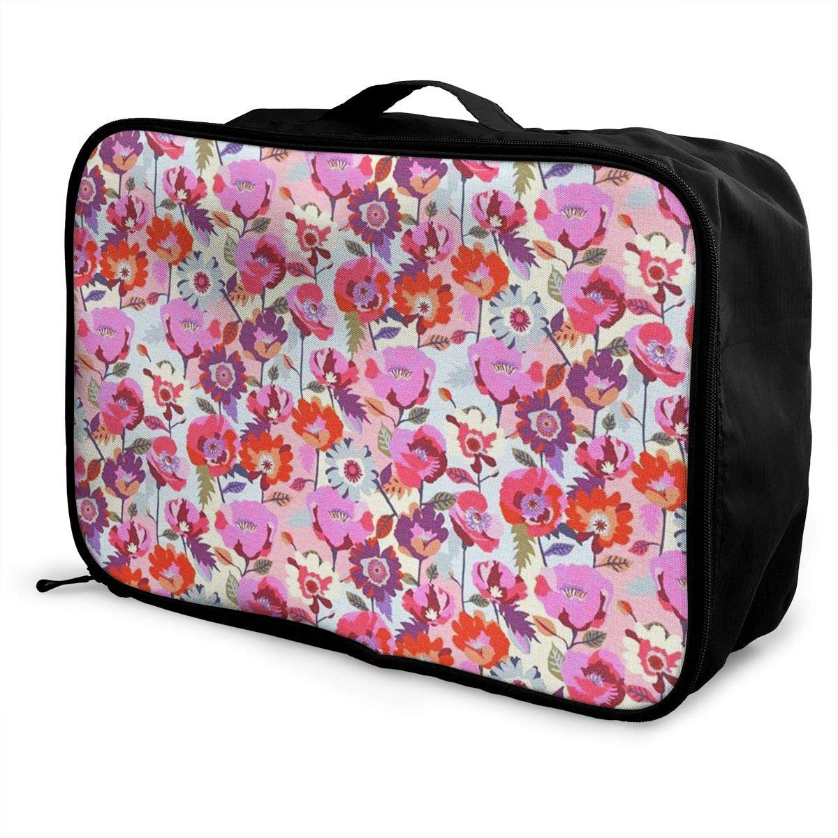 Portable Luggage Duffel Bag Pink Flowers Travel Bags Carry-on In Trolley Handle