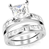 Sterling Silver Cubic Zirconia Princess Cut CZ Wedding Engagement Ring Set