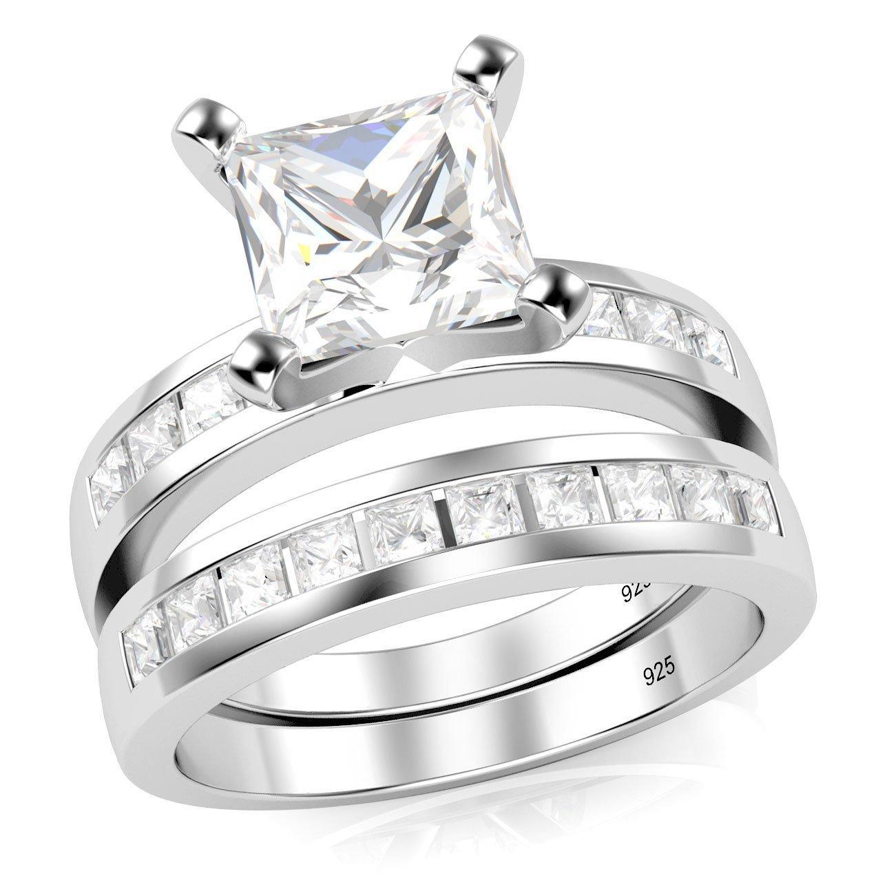 Sz 6 Sterling Silver Cubic Zirconia Princess Cut CZ Wedding Engagement Ring Set