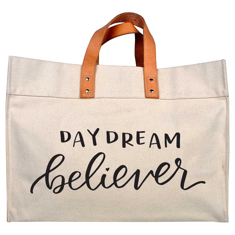 Canvas Beach & Pool Tote - Resort Style Bag (Natural- Daydream Believer) by Adornlee