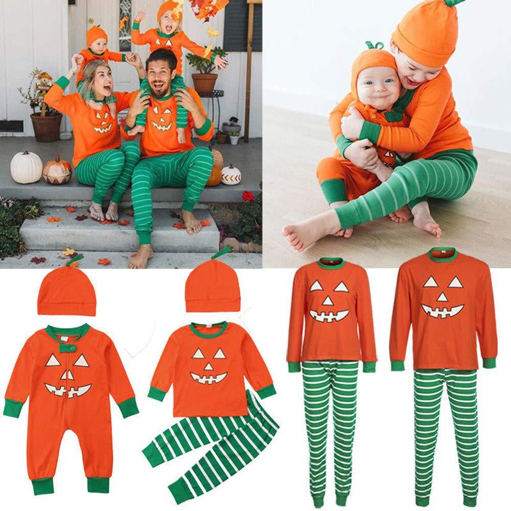 kaiCran Autumn Family Matching Outfits Sets Long Sleeve Halloween Pumpkin Pajamas Lovely Family Clothes