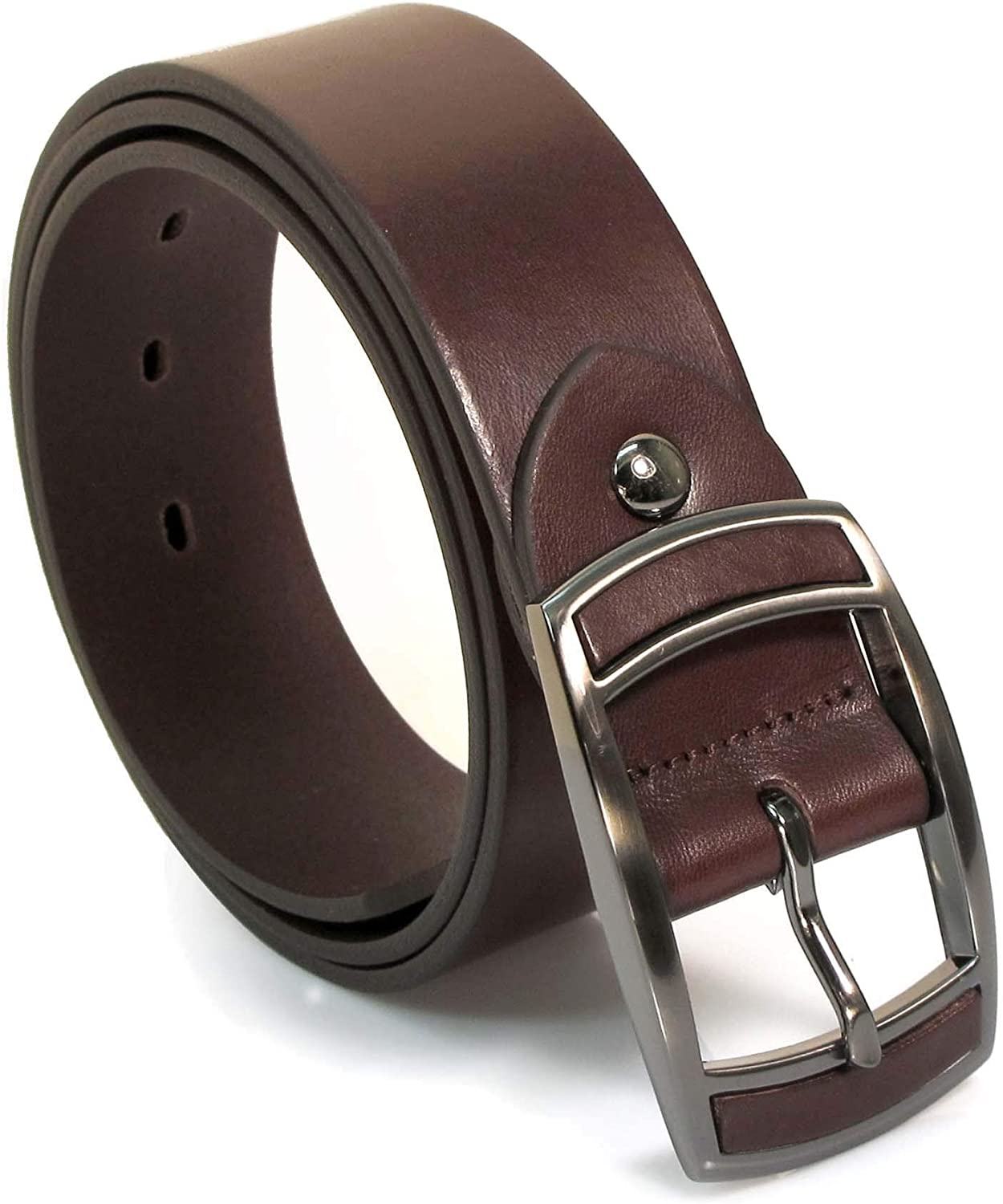 CM9 Mens Real Genuine Leather Dark Brown Belt 1.5 Wide S-L Thick Casual Jeans