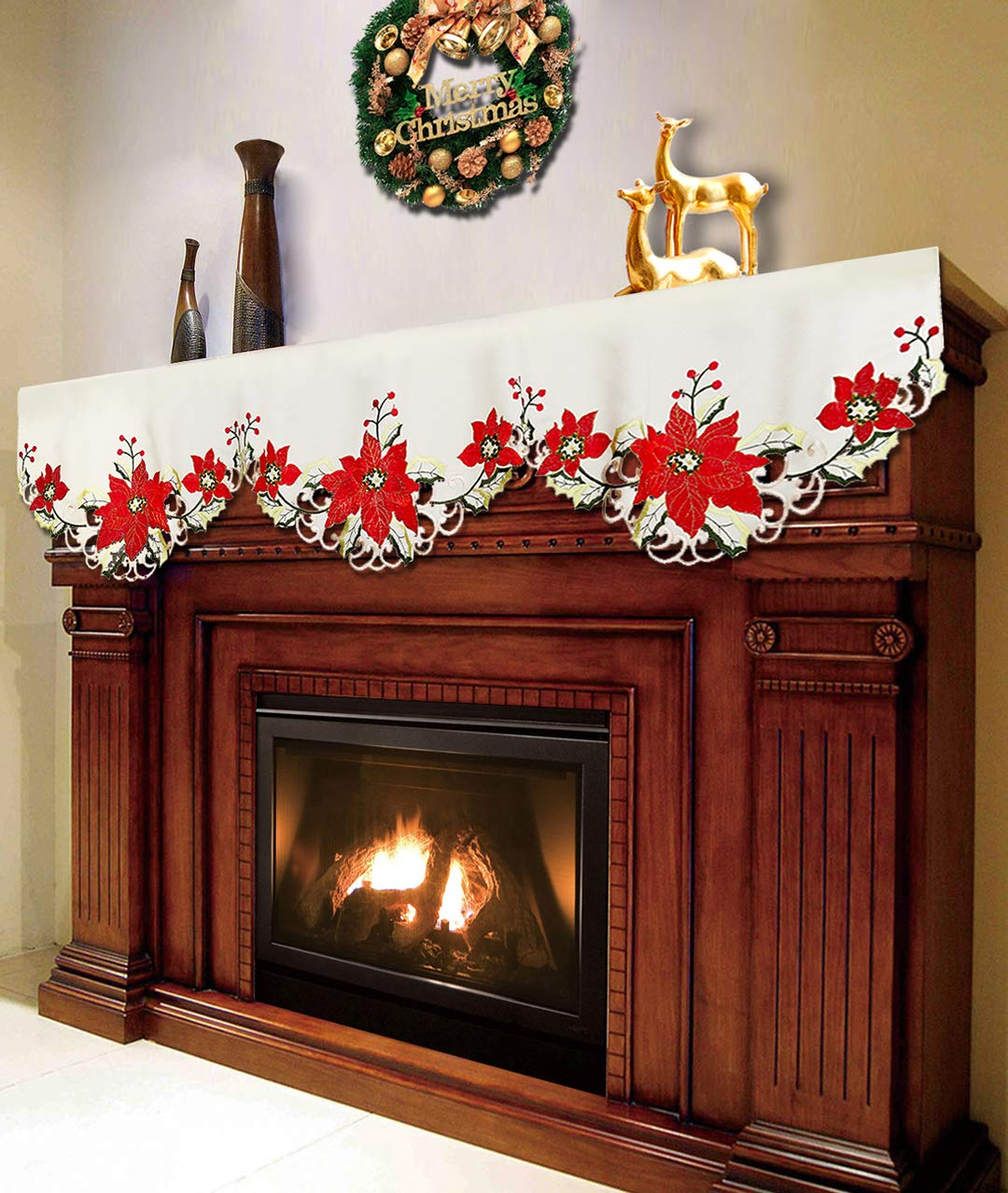Grelucgo Christmas Holiday Embroidered Poinsettia Mantel Scarf Runners Winter Decorations 69 by 17 Inch by Grelucgo