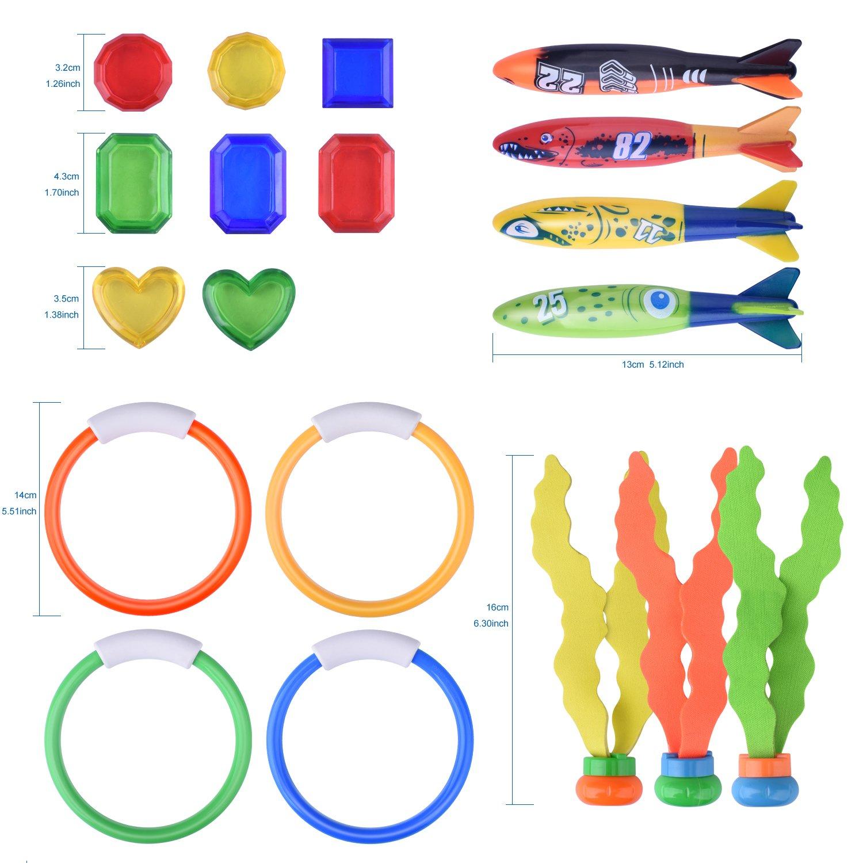 BONROB BG002 19Pack Diving Underwater Swimming Toy Set Rings Torpedo Sharks Grass Gem for Kids Under Water Treasures Colorful