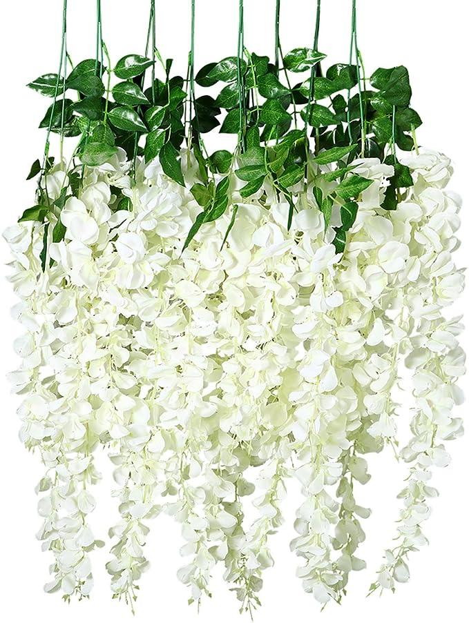 Flores de glicina artificiales Unomor, de 1 m, para colgar y decorar bodas, 8 unidades (color blanco): Amazon.es: Hogar