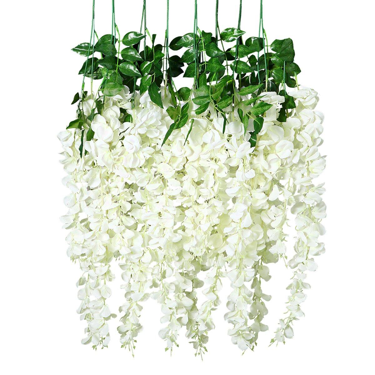 Unomor 3.25 Feet Wisteria Artificial Flowers Fake Hanging Flowers Vine Garland for Wedding Decorations (12 Pcs)