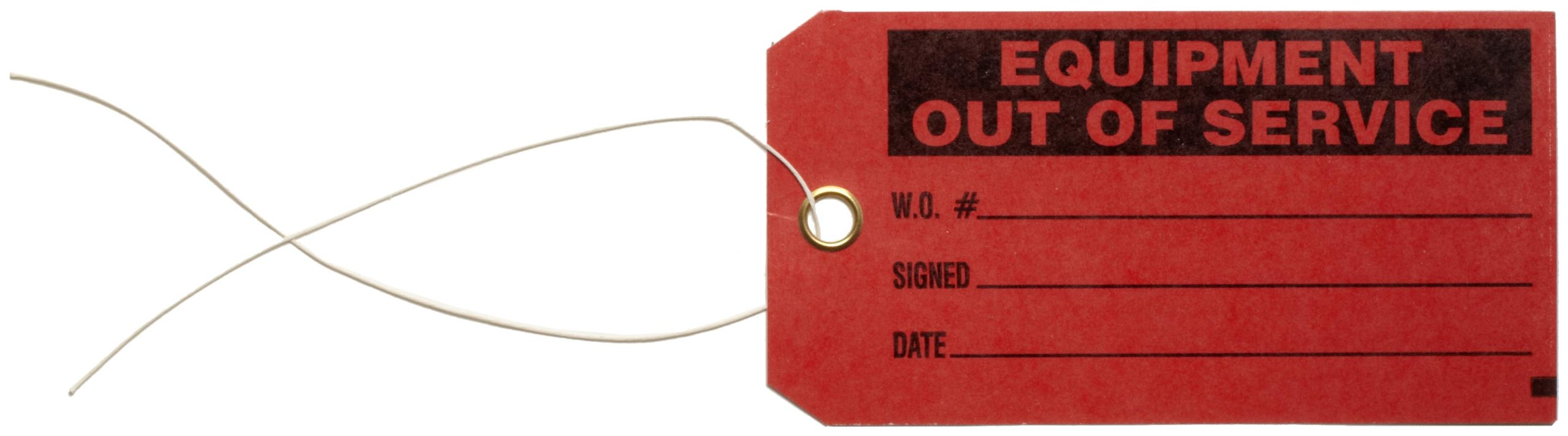 Brady 86756 5-3/4'' Height, 3'' Width, B-853 Cardstock, Black On Red Color Production Status Tag, Legend ''Equipment Out Of Service, W.S.Number/Signed/Date'' (Pack Of 100) by Brady