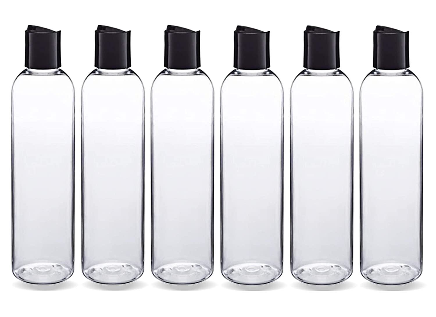 ljdeals 8 oz Clear Plastic Empty Bottles with Black Disc Top Caps, Refillable Containers for Shampoo, Lotions, Cream and more Pack of 6, BPA Free, Made in USA