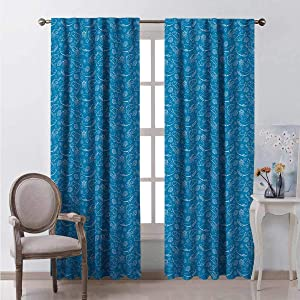 Irene Rossetti Marine Blackout Curtain Nursery Nautical Pattern with Outline Shark Whale Shells Crab Fishes 2 Panels W100 x L84 Inch Sea Blue Seafoam Sky Blue