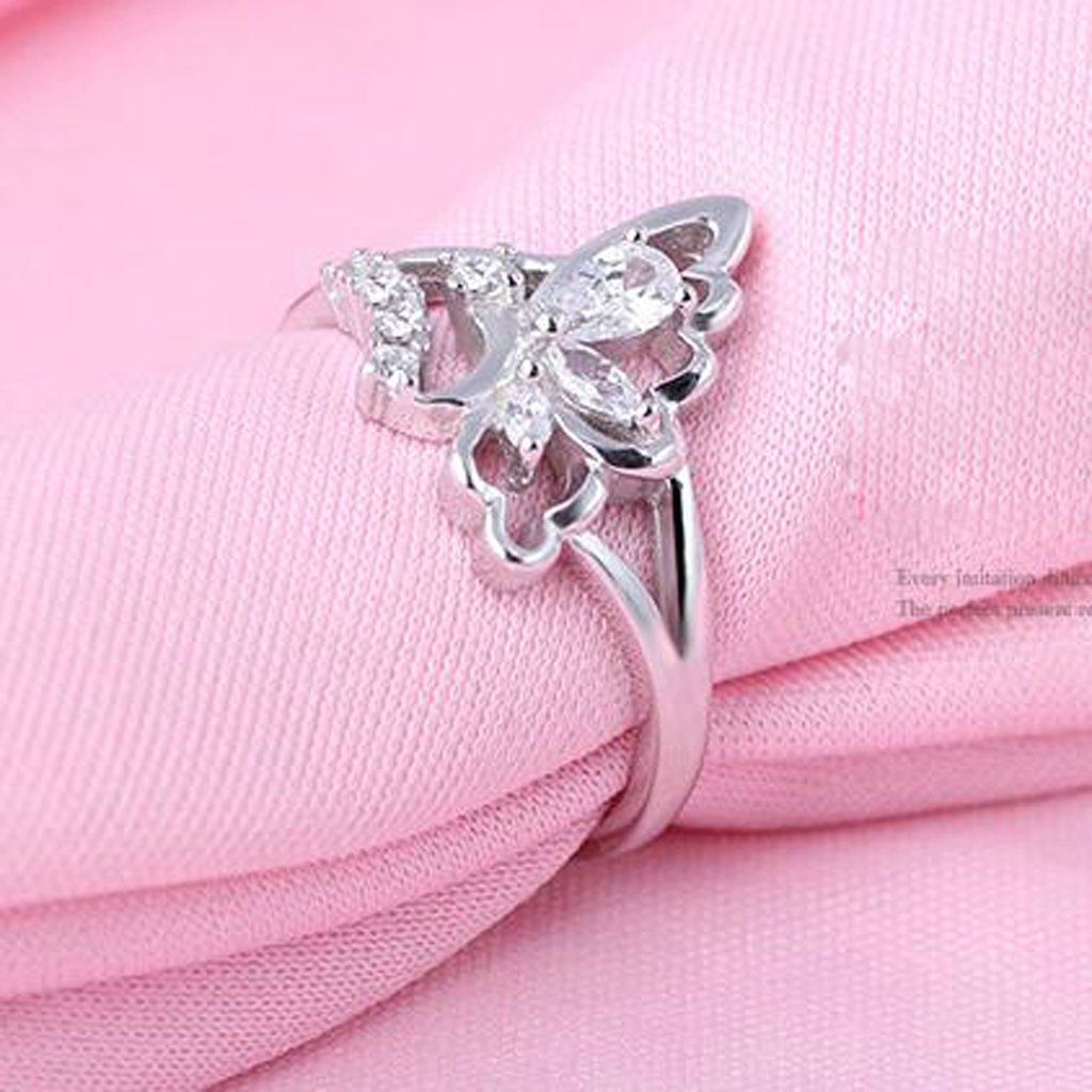 Bishilin S925 Silver Butterfly Romantic Ring With Lab Created Diamond Rings For Womens Size 6