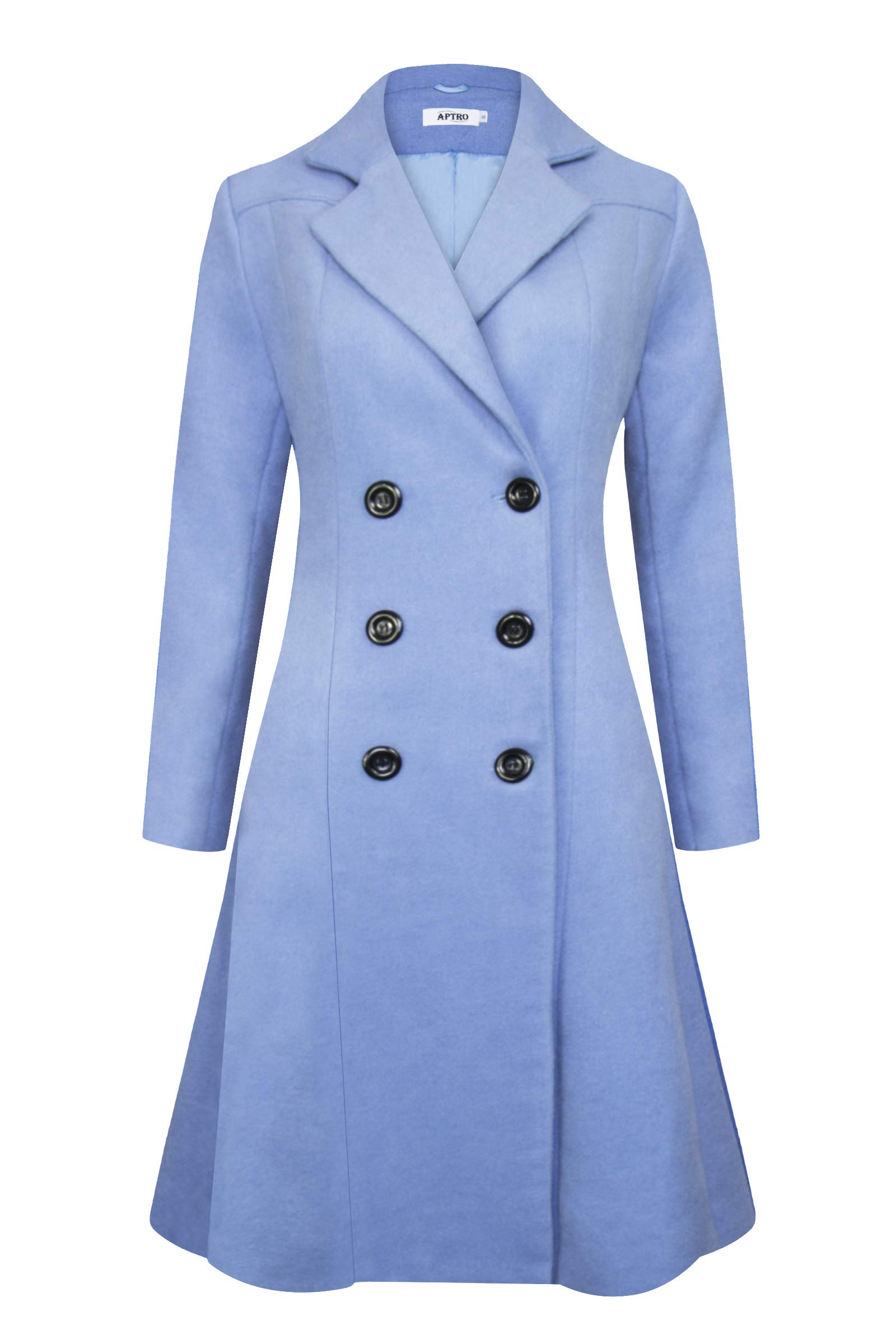APTRO Women's Winter Lapel Double Breasted Wool Trench Coat Long Overcoat (XL, WS02 Blue)