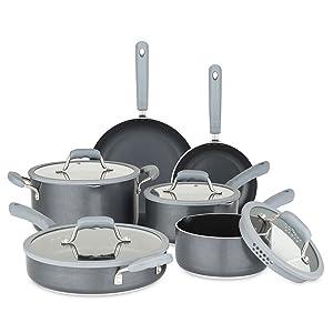 Chopped 60141-9990-GRY Aluminum Cookware Set, 10 Piece, Gray