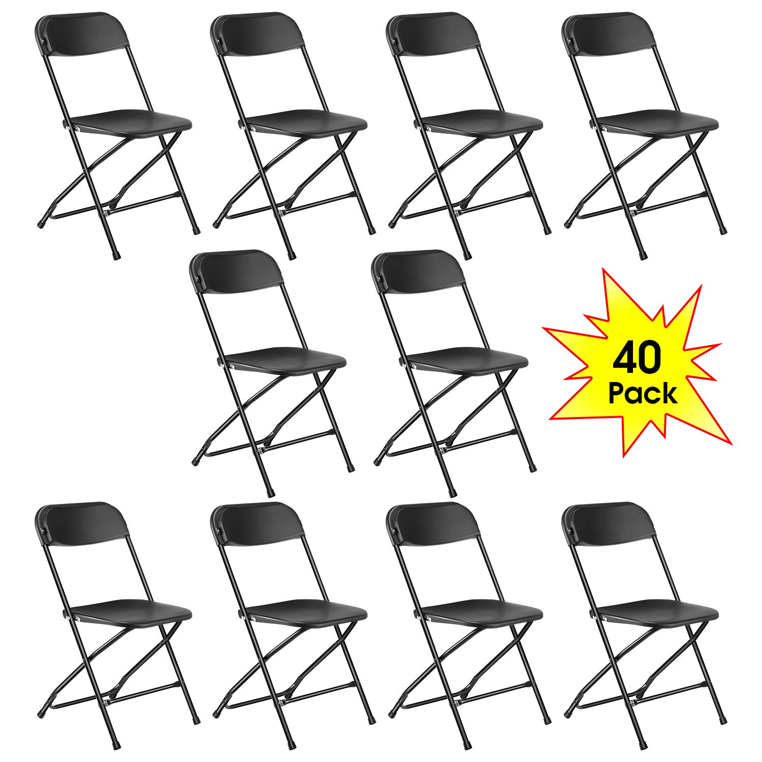 Kealive Black Plastic Folding Chair 40 Pack Fold Chair 330 lbs Weight Capacity for Events, Premium Lifetime Fold Up Chair Portable 18'' L x 18'' W x 31'' H by kealive