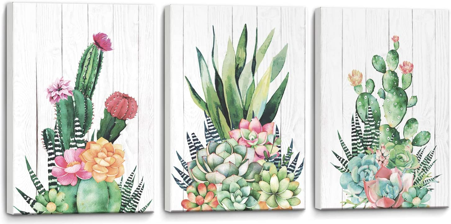 """Canvas Wall Art Cactus Framed Prints Picture Bathroom Wall Decor Modern Popular Wall Decorations Wall Decor for Bedroom Pink Green Cactus Size 12"""" x 16""""x3 3 Pieces Panels Easy to Hang"""