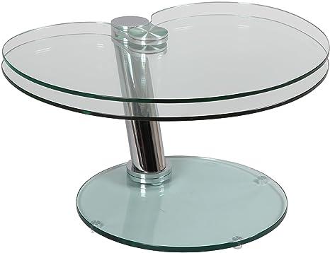 Tavolini In Vetro E Acciaio : Destock meubles tavolino vetro e acciaio vassoio girevole amazon