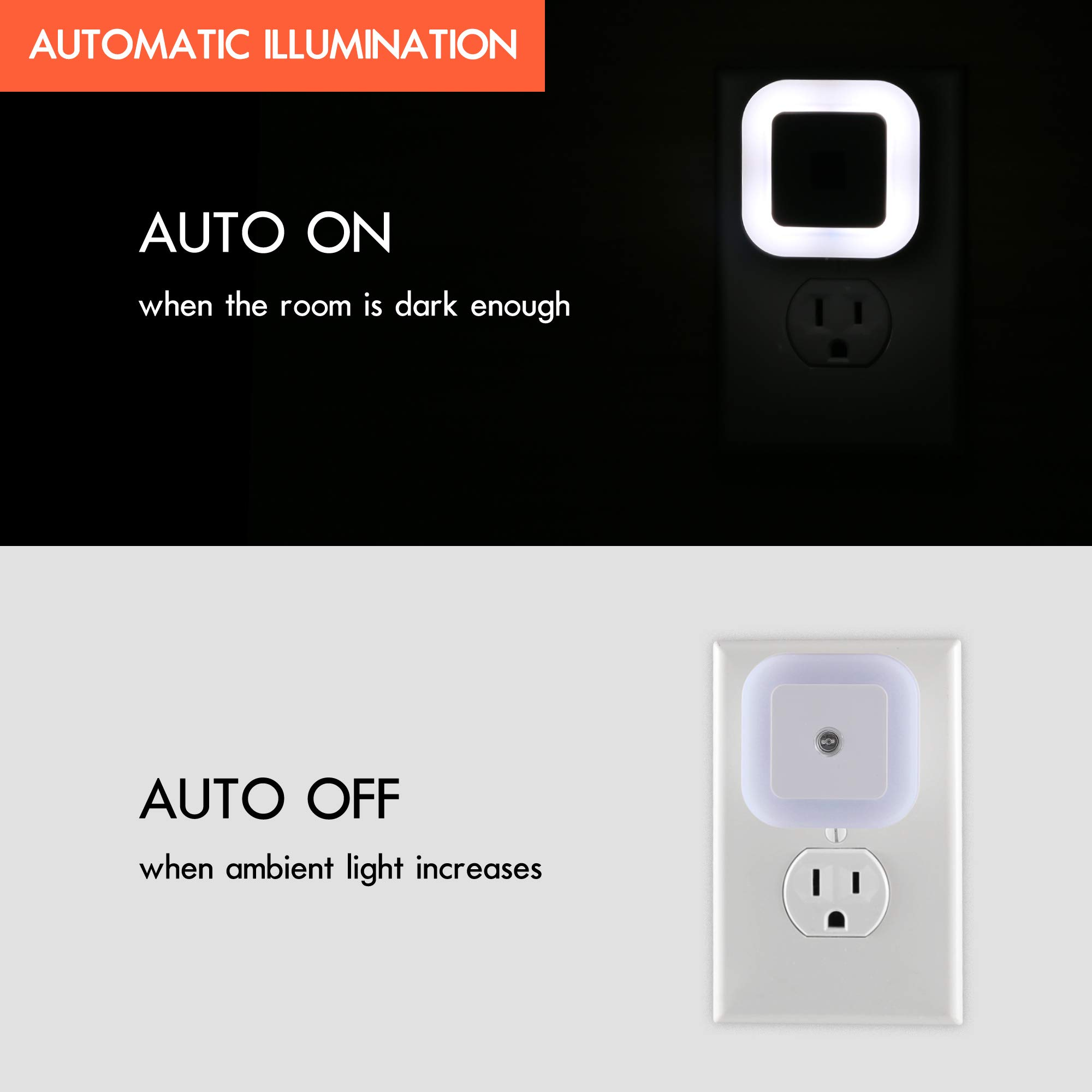 Sycees Plug-in LED Night Light with Dusk-to-Dawn Sensor for Bedroom, Bathroom, Kitchen, Hallway, Stairs, Daylight White, 6-Pack by SYCEES (Image #2)