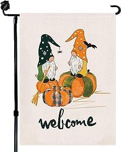 Baikey Garden Flag, Fall Welcome Halloween Flag Gnomes Buffalo Plaid Pumpkin Vertical Double Sized Broom Autumn Flag Spider Web Bat Holiday for Farmhouse Home Outdoor Decoration 12.5 x 18 Inch