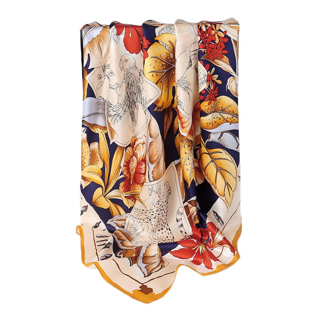 4 KERVINJESSIE Silk Scarf Spring Summer and Autumn Satin Silk Print Long Scarf (color   2, Size   175x52CM)