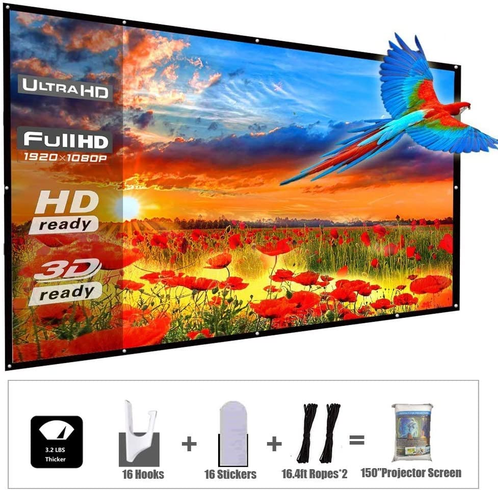 YF2009 Updated 150 Inch Portable Projector Screen, 16:9 HD Foldable Anti Crease Indoor Outdoor Movie Projection Screen for Camping/Home Theater/Office/Party - with Hooks and Ropes, Easy to Install