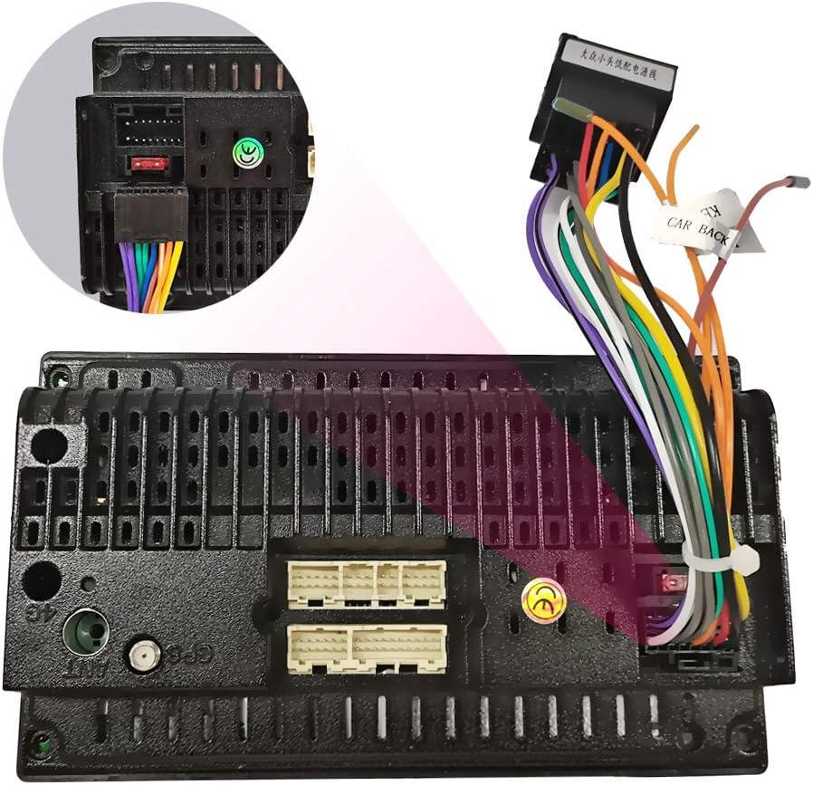 Cable Adaptador de 16 Pines a ISO para Android Radio de Coche Enchufe Est/ándar ISO con L/íneas de Control del Volante y L/ínea de Control Inverso
