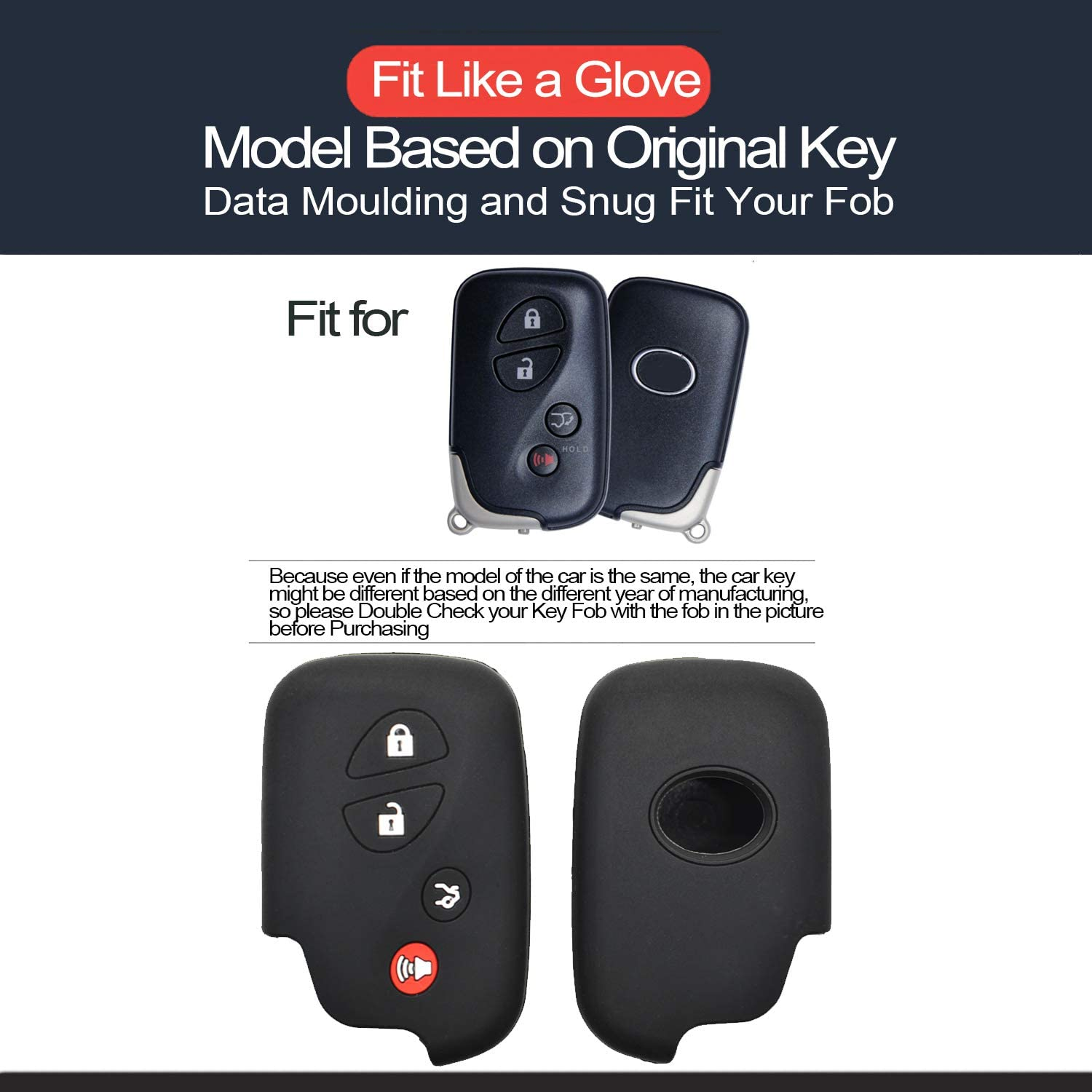 2pcs Compatible with Lexus Smart 4 Buttons Silicone FOB Key Case Cover Protector Keyless Remote Holder for 2005-2018 Lexus ES350 GS300 GS350 GS430 GS450h ISC IS250 IS350 LS460 LS600h