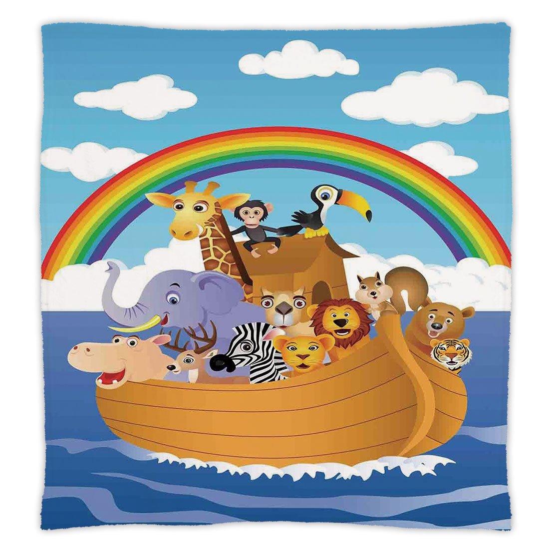 Super Soft Throw Blanket Custom Design Cozy Fleece Blanket,Noahs Ark,Cartoon Style Group of Animals in Noahs Ark Childish Cheering Design Artwork,Multicolor,Perfect for Couch Sofa or Bed