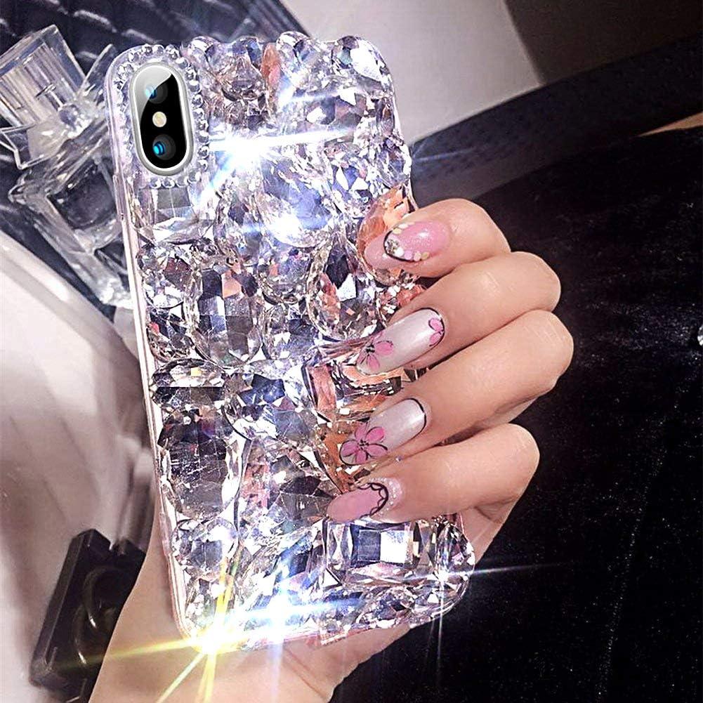 ikasus Case for iPhone Xs Max,iPhone Xs Max Diamond Case,3D Handmade Bling Rhinestone Diamonds Luxury Sparkle Rhinestones Case Girls Women Full Crystal Bling Diamond Case Cover for iPhone Xs Max,Clear