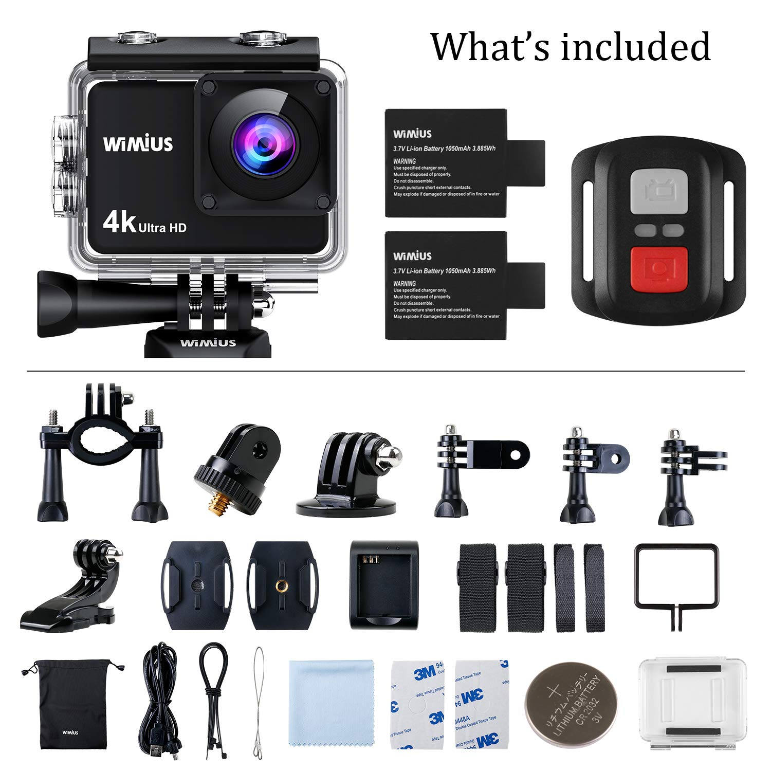 WiMiUS 4K Action Camera 2 Inch Touch Screen 16MP WiFi Sports Camera 30M Underwater Waterproof Camcorder 170 Degree Wide Angle Lens with 2 Rechargeable 1050mAh Batteries and Mounting Accessories by WiMiUS (Image #7)