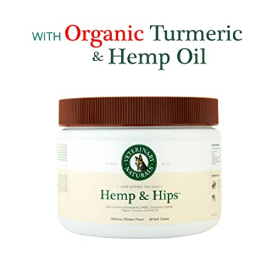Veterinary Naturals 'Hemp & Hips' - Hip & Joint Supplement for Dogs with Glucosamine, MSM, Chondroitin, Organic Turmeric, Vitamin E, Fish & Hemp Oil for Pain, Mobility & Inflammation