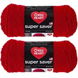 Bulk Buy: Red Heart Super Saver (2-pack) (Cherry Red, 7 oz each skein)