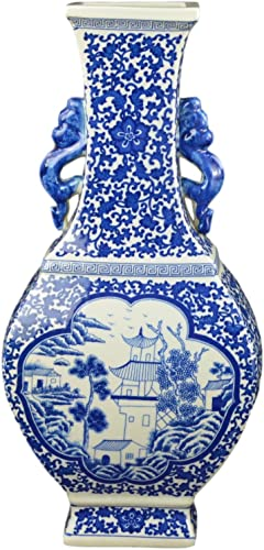 Festcool 17 Classic Blue and White Porcelain Vase, Landscape Ceramic China Qing Style D18