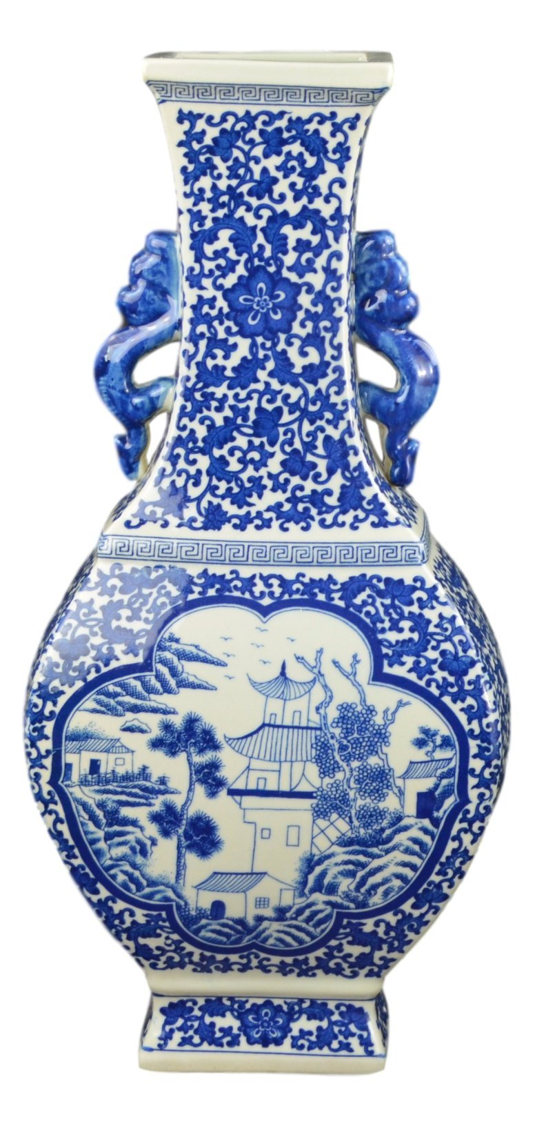 Festcool 17'' Classic Blue and White Porcelain Vase, Landscape Ceramic China Qing Style (D18)