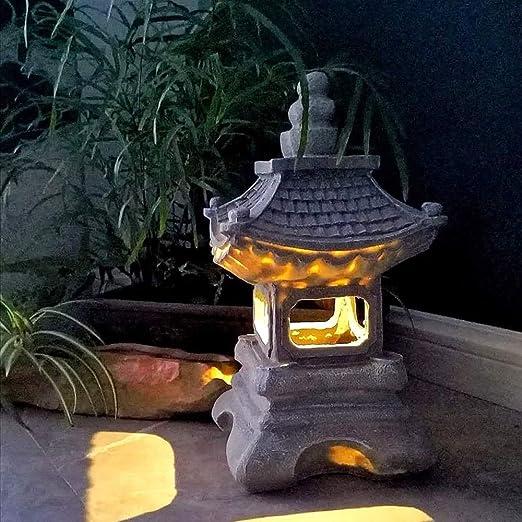 Estatuas para jardín Lámpara De Piedra Japonesa, con Energía Solar Luces Al Aire Libre Impermeable del Jardín De Resina Esculturas para Césped De La Yarda 17 * 34cm con Adornos: Amazon.es: Hogar