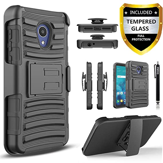 AT&T Axia Case, with [Tempered Glass Screen Protector Included],  Circlemalls Built-in Kickstand Belt Clip Holster Heavy Duty Protective  Phone Cover