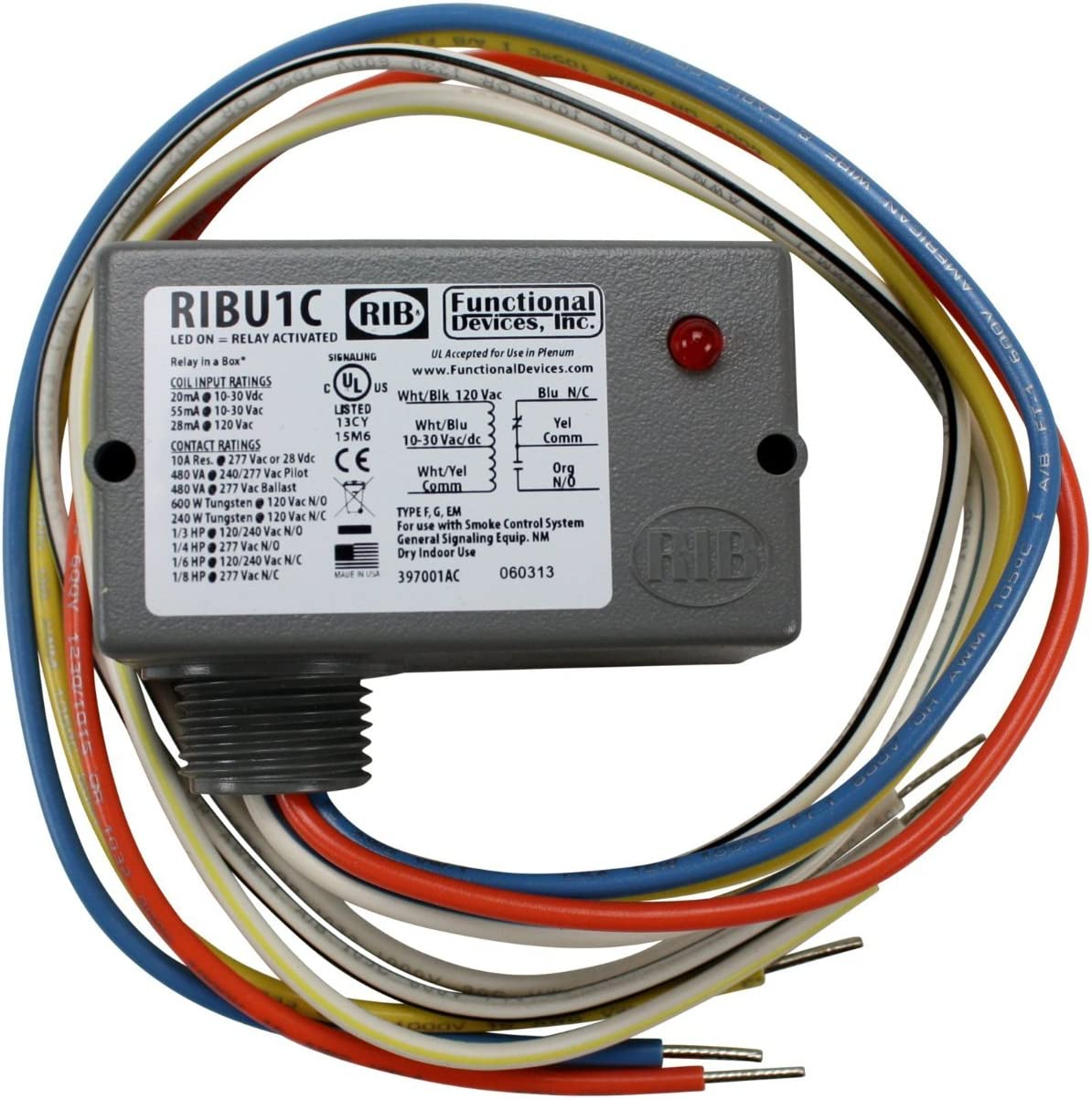 120V 10AMP SPDT Functional Devices RIBU1C DC Enclosed Pilot Relay 10-30Vac