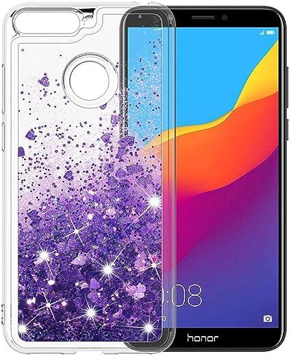 Ptny Glitter Case Compatibile con Huawei Honor 7A/ Y6 2018 Cover, Paillettes Liquido Bling Scintillante Cristallo TPU Silicone Protettiva Trasparente ...