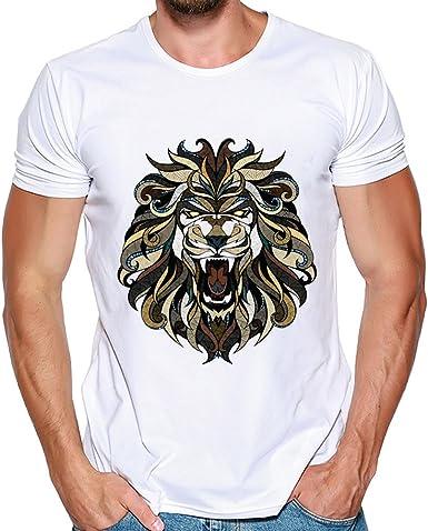 Estampado de Leon Polos de Hombre, Honestyi T-Shirt de Simple Tops ...