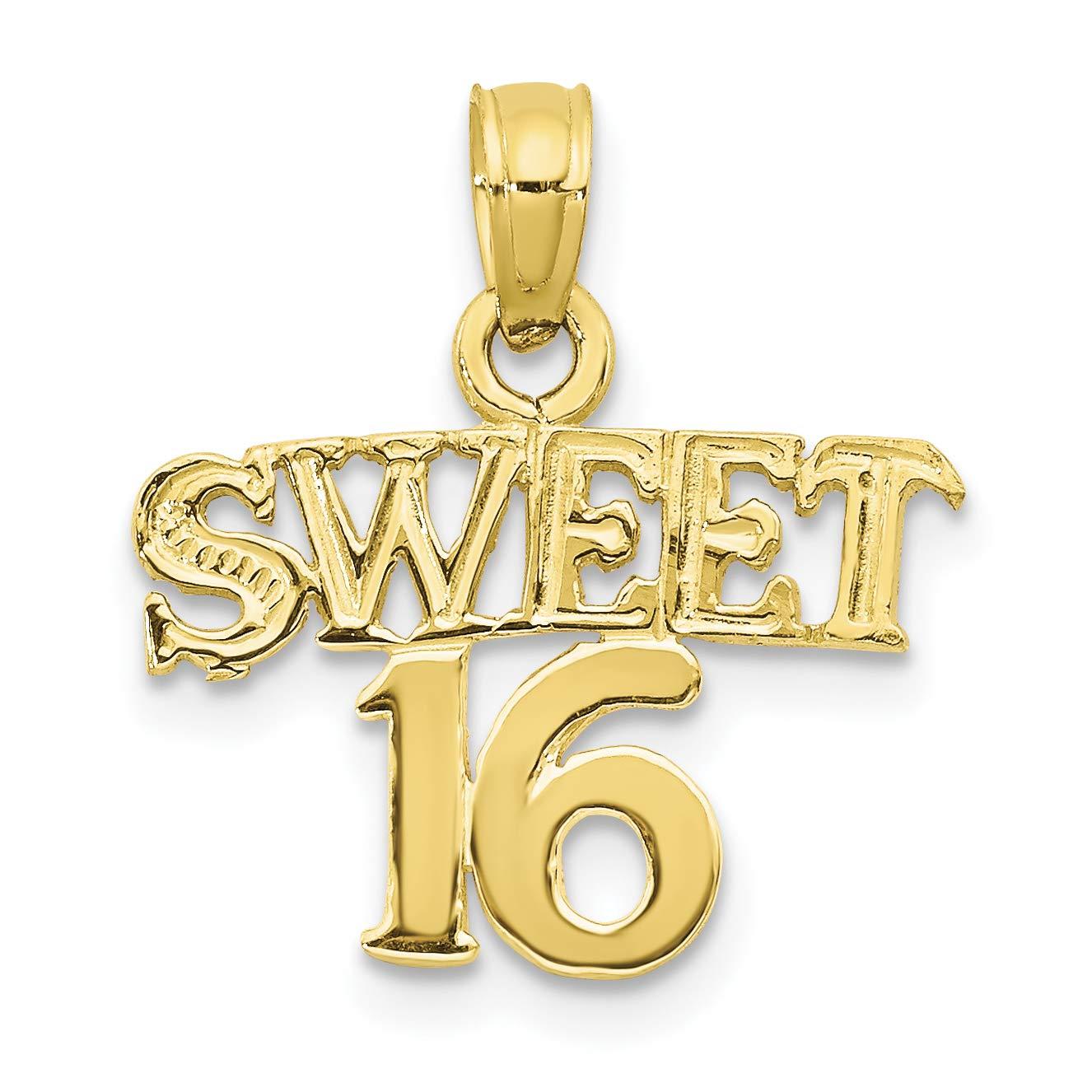 10k Yellow Gold Sweet 16 Words Birthday Pendant