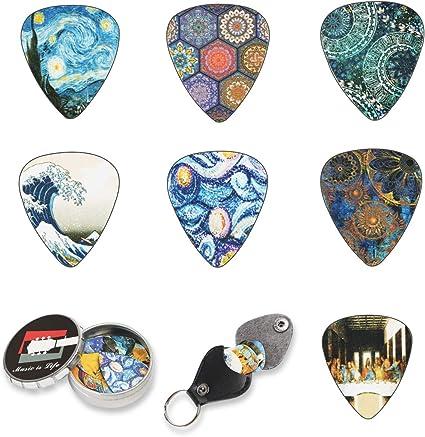 Shidan Paquete de 12 Plumillas de Guitarra con Una Caja de Metal ...