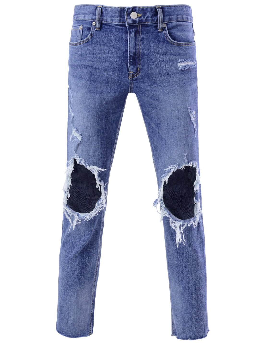 DETYLISH SJ5016 Men Straight Fit Denim Destroyed Damage Cutting Unhemmed Jeans Blue 27W/26L(Tag Size S)