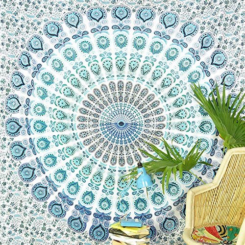 Eyes of India – Large Queen White Blue Indian Elephant Mandala Tapestry Hanging Picnic Bohemian Accent Boho Chic Handmade