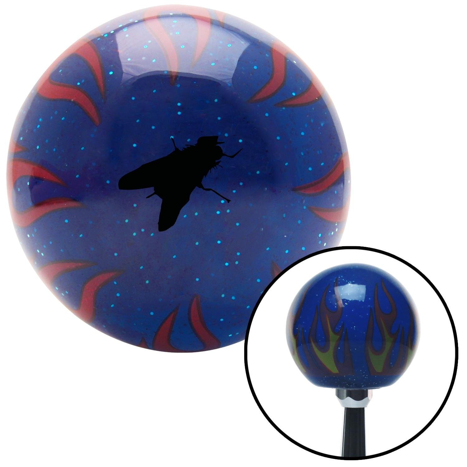 American Shifter 297640 Shift Knob Black Fly Blue Flame Metal Flake with M16 x 1.5 Insert